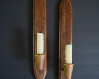 Japanese wooden candle holder sconces / Danish / Mid Century