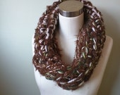 Brown Crochet Scarf . Mob...