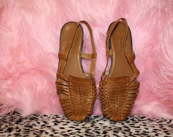 90s Brown Huarache Sandals