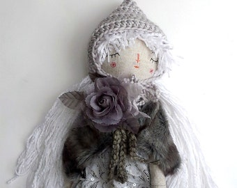 Drawsy Pixie Doll, Rag Doll, Grey Doll, Handmade Doll, Best Friend For Girl, OOAK Doll, Cloth Art Doll, Heirloom Doll