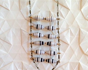 Black and White Multicolored Striped Paper Bead Necklace - Swirling Patterns Totem Drop Necklace - Handmade Beads and Brass Chain -