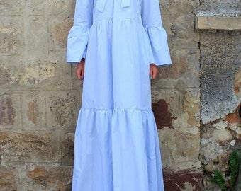 Maxi Dress, Blue Maxi Dress, Boho Maxi Dress, Summer Maxi Dress, Plus size Maxi Dress, Long Cotton Maxi Dress