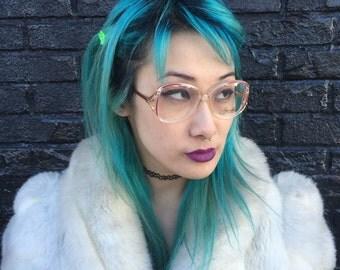 Vintage Unused 1980s Joan Collins Designer Eyeglasses Clear + Pink Plastic Glasses