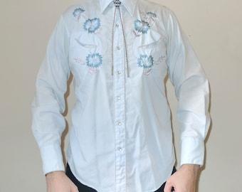 Vintage KARMAN Floral Cowboy Southwestern Snap Shirt Western Wear Coral