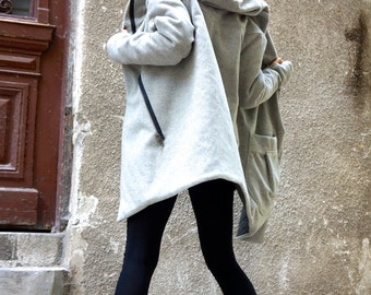 NEW Extra Warm Qilted Winter Asymmetric Extravagant Light Grey Hooded Wool Cashmere Blend/ Double Zipper/Large Pocket Coat by AAKASHA A07198