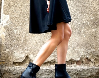 """NEW Collection """"All Black """" Genuine Leather Wedges / Sexy Extravagant """"Must Have"""" All seasons Shoes / Ankle boots by Aakasha A21388"""