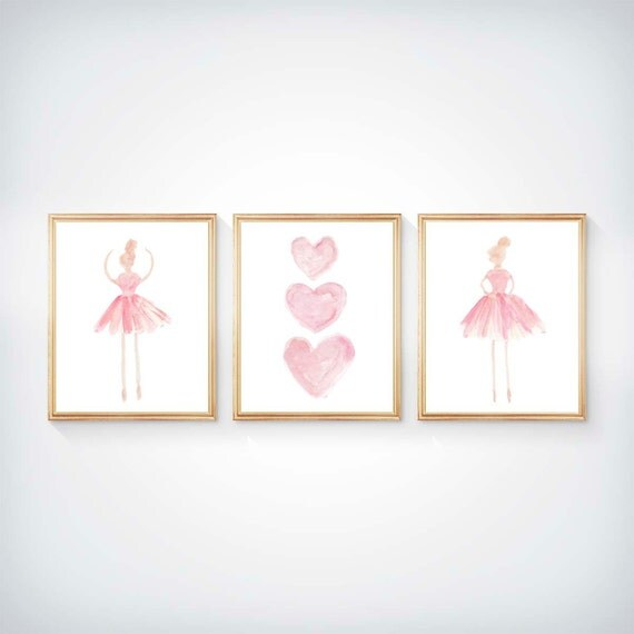 Girls Ballet Decor; Pink Ballerina and Hearts, Set of 3 - 8x10 Prints