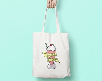 Pastel Shake It Off Tote Bag: funny eco friendly shopping bag with milkshake illustration. Useful & fun gift for foodies and best friends!