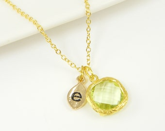 Personalized Peridot Green Pendant Necklace Gold Leaf Initial Necklace Green Drop Custom Necklace 18 or 20 Inch Gold Plated Chain |NB1-17