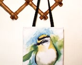 Cotton canvas tote bag. Original illustration canary bird.