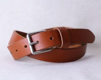 "Custom Leather Belt // 1.25"" Width // Chestnut Wickett & Craig Leather // Roller Buckle"