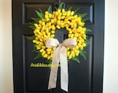 spring wreath Easter wreath front door wreaths decorations yellow tulips wreaths, Mother's day gifts, vases