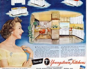 youngstown kitchen cabinets by mullins with Vintage Kitchen Ad 1950s Ge Refrigerator on 5580867263 furthermore Inspiration From Mid Century Modern Kitchens further 72157622446771288 besides Youngstown Steel Kitchen Cabi s New also Cuisine Vintage Style 50 Americain.