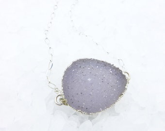 Silver Druzy Necklace, Drusy Necklace, Druzy Pendant, Gift for Her
