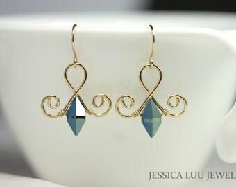 Gold Blue Swarovski Crystal Earrings Wire Wrapped Jewelry Blue Earrings Swarovski Crystal Jewelry Gold Earrings Gold Jewelry