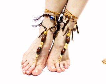 Clothing, Shoes, Barefoot Sandals, Beach sandals, Foot jewelry, Natural Anklet, Tassel sandals, Barefoot sandles, Woodland fairy