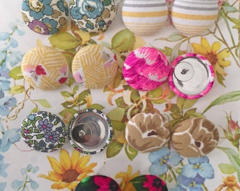 Vintage Inspired Button Earrings / Wholesale / Collection of 7 / Discontinued Prints / Gift Set / Small Studs / Hypoallergenic Post