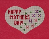 Mother's Day Card, Cross Stitch Card, Happy Mother's Day