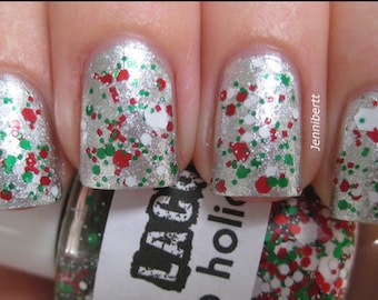HOLIDAY- Ho Ho Holidays:  Christmas Custom-Blended Glitter Nail Polish / Lacquer