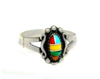 Navajo Ring Sterling Turquoise Coral Malachite Signed WM Willie Mariano Vintage 1960s Native American Inlay Stone And 925 Size 5 Petite