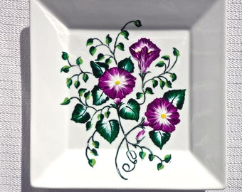 Hand Painted Ornamental Plate With Purple Flowers, Christmas Gift, Hand Painted Decorative Plate, Painted Plate, Home Decor, Gifts For Her