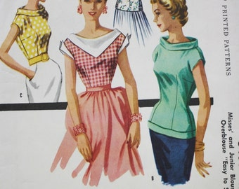 McCalls 3406 / 1950s Back Tie Fitted Tops Sewing Pattern / Bust 38