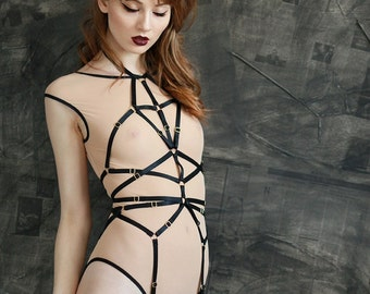 "The ""Magdalena"" Playsuit - Full Body Harness With Detachable Garters and Clips for Stockings"