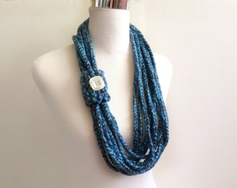 Ocean hand crochet chain Infinity scarf - gift or for you