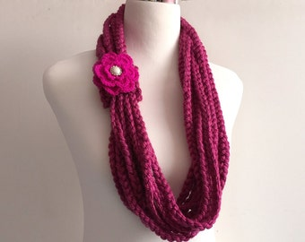 french berry hand crochet chain Infinity scarf with removable crochet flower - gift or for you