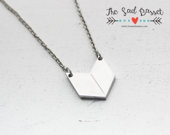 Chevron Necklace | Chevron Jewelry | Geometric Necklace | Stainless Steel Necklace | Layering Necklace | Silver Chevron Necklace | Trendy
