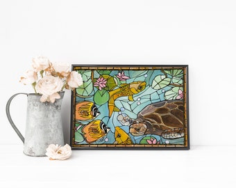Blue Beach Decor. Sea Turtle Art Print - Turtle Nursery Decor - Reef Whimsical Stained Glass Look Sea Turtle and Fish in the Blue Sea