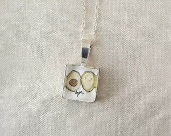 Avocado  - Wearable Artwork Necklace - Original Watercolor Painting - One of a Kind - Sterling Silver