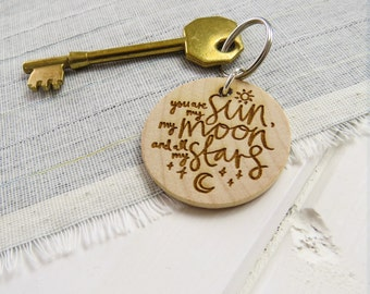 Sun, Moon and Stars Wooden Keepsake Keyring  - Valentines Gift - Anniversary - Token Key ring - Quote Gift for Book Lover