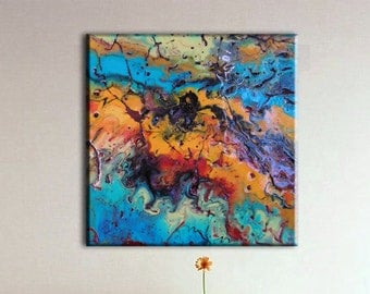 Original Contemporary Epoxy Resin Art, colorful, textured, canvas wall decor, Abstract Resin Art, framed canvas painting, Modern home decor