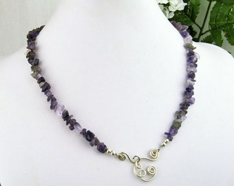Amethyst Collar, Wire Wrapped Spirals, Pendant Holder, Amethyst Crystals,  Silver Plated Wire, Handmade, Gift for Her, Semi Precious Stones