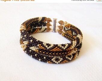 15% SALE Beadwork - 3 Strand Bead Crochet Rope Bracelet in dark brown, brown and creamy ivory - beaded jewelry - seed beads bracelet