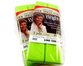 Lime Green Bias Tape, Wright's, Wide Single Fold, Bright Chartreuse Green, Destash