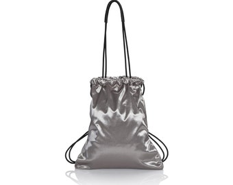 Designer Handbag - metallic silver backpack purse - multi-way canvas bag women backpack SALE - bucket bag - soft hobo bag  silver hobo purse
