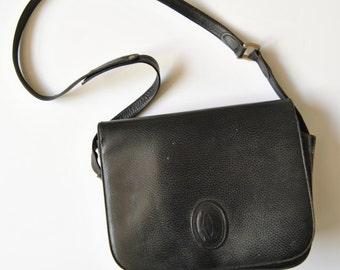 Vintage Cartier Must Leather Shoulder Bag in Black Pebbled Leather