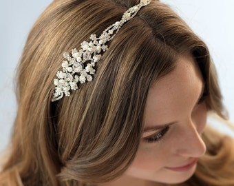 Pearl Bridal Headband, Side Headband For Bride, Pearl Side Headband, Pearl Wedding Headband, Rhinestone & Pearl Bridal Headband ~TI-3135