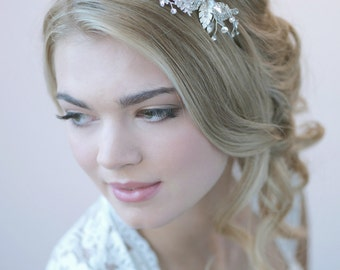 Floral Wedding Headband, Rhinestone Bridal Headband, Bridal Hair Accessory, Bridal Headpiece, Flower Bridal Headband,Bride Headband ~TI-3265
