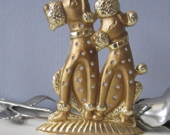 Poodle Earring Holder VINTAGE  Torino Metal Tree Brass 1970s