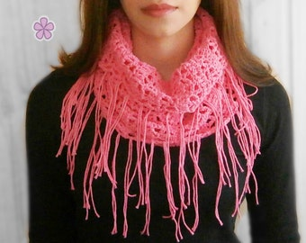 Easy Fringe Cowl Crochet Pattern. Lacy crochet cowl / circle scarf with fringes in both ends _ C16