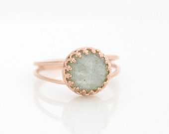 Aquamarine ring • Rose gold ring set with an aquamarine gemstone • March birthstone • Birthstone ring