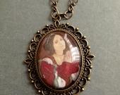 Renaissance Art Pendant Pre Raphaelite Original Digital Art Necklace Italian Lady Red Dress