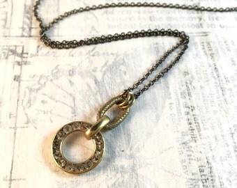Vintage Rhinestone Ring Necklace - Short Length