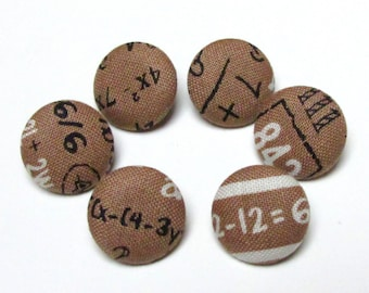 Fabric Buttons - Brown Fabric Covered Buttons - Mathematics Elementary Numbers - Sew Buttons - Back to School - Vintage Retro - White Black