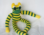 Sock frog, sock animal, softie, plush toy sock monkey. Ferdie Frog.