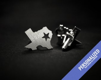 Texas State cufflinks engraved with your initials – sterling silver cufflinks, groom gift from bride