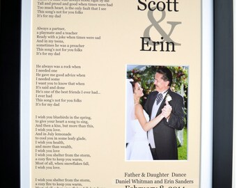 Father Daughter Dance Lyrics Gift For Dad: Personalized Wedding Photo Present ANY Favorite Dance Popular Song Father Bride Wall Decor